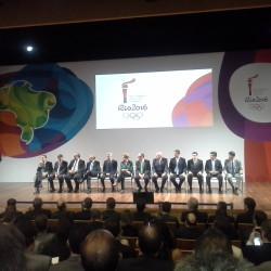 Foto da cerimônia de apresentação da Tocha Rio 2016