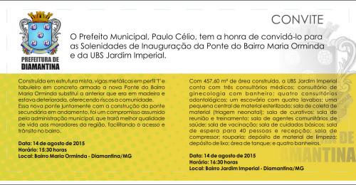 Ilustração da notícia: Prefeitura inaugura no dia 14/08 a UBS Jardim Imperial e a primeira ponte do bairro Maria Orminda