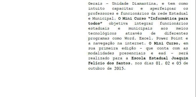 Ilustração da notícia: Prefeitura em parceria com a UAI TEC e UEMG oferece minicurso de informática para professores da rede pública