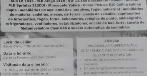 Ilustração da notícia: Prefeitura de Diamantina realiza leilão de bens no dia 18 de fevereiro
