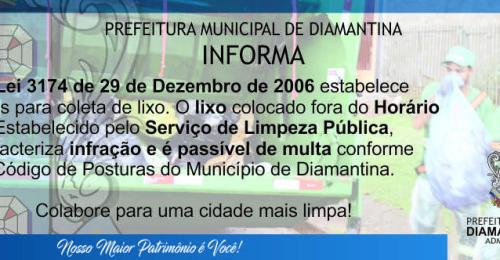 Ilustração da notícia: Coleta de Lixo – Prefeitura Municipal de Diamantina