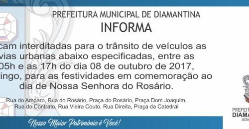 Ilustração da notícia: Fechamento de Ruas – Festa de Nossa Senhora do Rosário