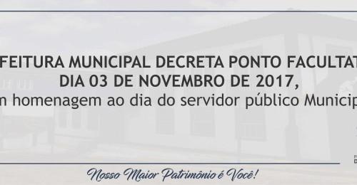 Ilustração da notícia: PREFEITURA MUNICIPAL DECRETA PONTO FACULTATIVO DIA 03 DE NOVEMBRO DE 2017