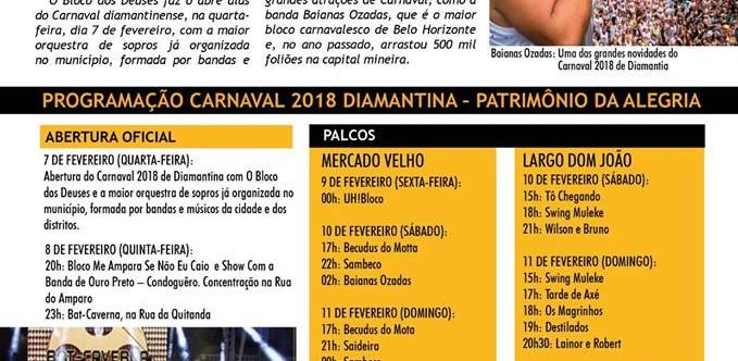 Ilustração da notícia: PROGRAMAÇÃO CARNAVAL 2018 DIAMANTINA - PATRIMÔNIO DA ALEGRIA