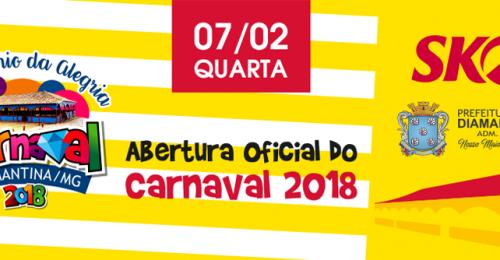 Ilustração da notícia: É HOJE!!!  ABERTURA DO CARNAVAL DIAMANTINA 2018 – PATRIMÔNIO DA ALEGRIA