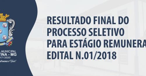 Ilustração da notícia: RESULTADO FINAL DO PROCESSO SELETIVO PARA ESTÁGIO REMUNERADO EDITAL N.01/2018