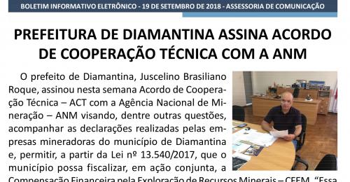 Ilustração da notícia: PREFEITURA DE DIAMANTINA ASSINA ACORDO DE COOPERAÇÃO TÉCNICA COM A ANM