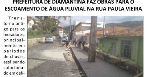 Ilustração da notícia: PREFEITURA DE DIAMANTINA FAZ OBRAS PARA O ESCOAMENTO DE ÁGUA PLUVIAL NA RUA PAULA VIEIRA