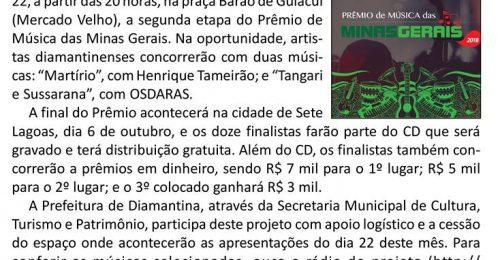 Ilustração da notícia: DIAMANTINA SEDIARÁ, DIA 22, ETAPA DO PRÊMIO MÚSICA DAS MINAS GERAIS