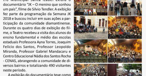 Ilustração da notícia: FILME SOBRE A VIDA DE JK É ASSISTIDO POR 490 ESTUDANTES DIAMANTINENSES