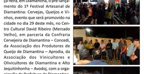 Ilustração da notícia: PRÉ-LANÇAMENTO DO 1º FESTIVAL ARTESANAL DE DIAMANTINA É UM SUCESSO