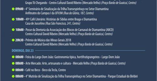 Ilustração da notícia: PROGRAMAÇÃO CULTURAL DO FIM DE SEMANA DIAMANTINA – 21 A 23 DE SETEMBRO DE 2018