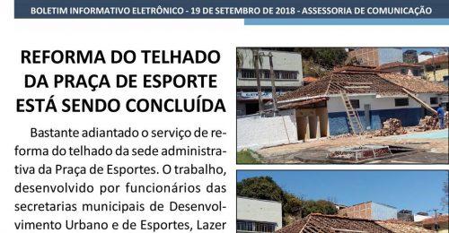 Ilustração da notícia: REFORMA DO TELHADO DA PRAÇA DE ESPORTES ESTÁ SENDO CONCLUÍDA