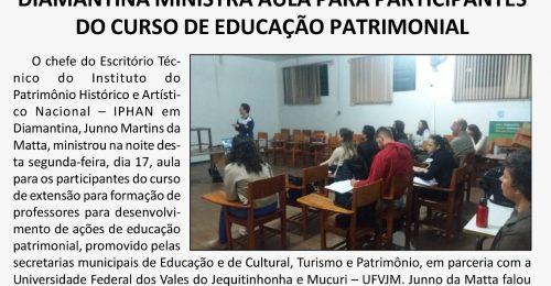 Ilustração da notícia: REPRESENTANTE DO ESCRITÓRIO DO IPHAN EM DIAMANTINA MINISTRA AULA PARA PARTICIPANTES DO CURSO DE EDUCAÇÃO PATRIMONIAL