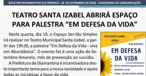"""Ilustração da notícia: TEATRO SANTA IZABEL ABRIRÁ ESPAÇO PARA PALESTRA """"EM DEFESA DA VIDA"""""""