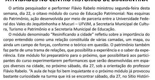 Ilustração da notícia: ALUNOS DO CURSO DE EDUCAÇÃO PATRIMONIAL PARTICIPARÃO NESTE SÁBADO, DIA 27, DE ATIVIDADES NO CENTRO HISTÓRICO DE DIAMANTINA
