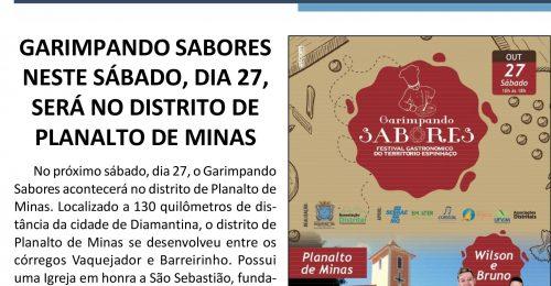 Ilustração da notícia: GARIMPANDO SABORES NESTE SÁBADO, DIA 27, SERÁ NO DISTRITO DE PLANALTO DE MINAS