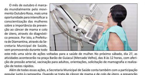 Ilustração da notícia: AÇÕES DO OUTUBRO ROSA DESTE SÁBADO, DIA 27, ACONTECERÃO NA PRAÇA BARÃO DE GUIACUÍ