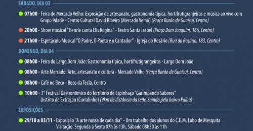 Ilustração da notícia: PROGRAMAÇÃO CULTURAL DO FIM DE SEMANA DIAMANTINA – 01 A 04 DE NOVEMBRO DE 2018
