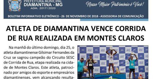 Ilustração da notícia: ATLETA DE DIAMANTINA VENCE CORRIDA DE RUA REALIZADA EM MONTES CLAROS