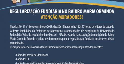 Ilustração da notícia: ATENÇÃO MORADORES DO BAIRRO MARIA ORMINDA