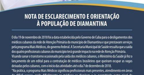 Ilustração da notícia: NOTA DE ESCLARECIMENTO E ORIENTAÇÃO À POPULAÇÃO DE DIAMANTINA