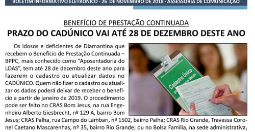 Ilustração da notícia: PRAZO DO CADÚNICO VAI ATÉ 28 DE DEZEMBRO DESTE ANO