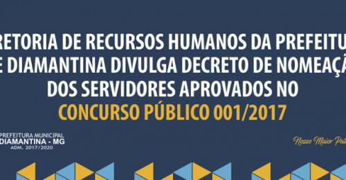 Ilustração da notícia: DIRETORIA DE RECURSOS HUMANOS DA PREFEITURA DE DIAMANTINA DIVULGA DECRETO DE NOMEAÇÃO DOS SERVIDORES APROVADOS NO CONCURSO PÚBLICO 001/2017
