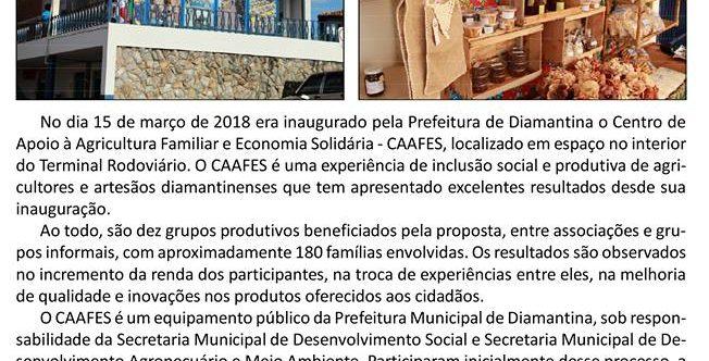Ilustração da notícia: CAAFES COMPLETA NESTE DIA 15 DE MARÇO UM ANO DE EXISTÊNCIA E COM 180 FAMÍLIAS ENVOLVIDAS