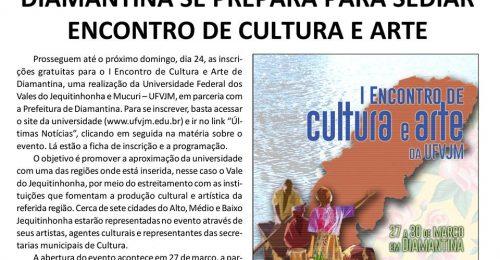 Ilustração da notícia: DIAMANTINA SE PREPARA PARA SEDIAR ENCONTRO DE CULTURA E ARTE