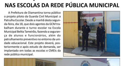 Ilustração da notícia: GCM DE DIAMANTINA ATUARÁ FAZENDO A SEGURANÇA DE ALUNOS E FUNCIONÁRIOS DA REDE PÚBLICA MUNICIPAL
