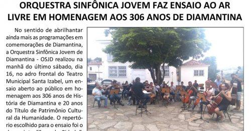 Ilustração da notícia: ORQUESTRA SINFÔNICA JOVEM FAZ ENSAIO AO AR LIVRE EM HOMENAGEM AOS 306 ANOS DE DIAMANTINA