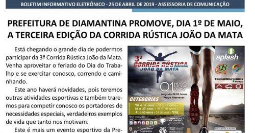 Ilustração da notícia: PREFEITURA DE DIAMANTINA PROMOVE, DIA 1º DE MAIO,  A TERCEIRA EDIÇÃO DA CORRIDA RÚSTICA JOÃO DA MATA