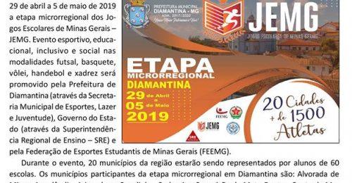 Ilustração da notícia: ETAPA MICRORREGIONAL DOS JEMG SERÁ REALIZADA EM DIAMANTINA