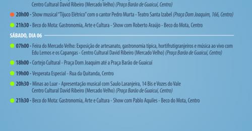 Ilustração da notícia: PROGRAMAÇÃO CULTURAL DO FIM DE SEMANA DIAMANTINA – 05 A 07 DE JULHO DE 2019