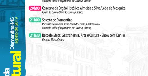 Ilustração da notícia: AGENDA CULTURAL – DIAMANTINA/MG, 30 DE AGOSTO A 01 DE SETEMBRO DE 2019