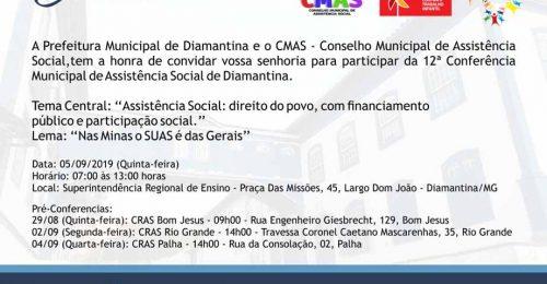 Ilustração da notícia: CONVITE – 12ª CONFERÊNCIA MUNICIPAL DE ASSISTÊNCIA SOCIAL DE DIAMANTINA
