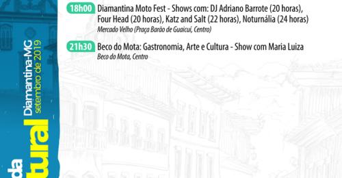 Ilustração da notícia: AGENDA CULTURAL – DIAMANTINA/MG, 06 A 08 DE SETEMBRO DE 2019