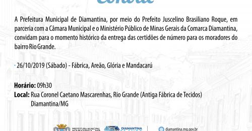 Ilustração da notícia: CONVITE – ENTREGA DAS CERTIDÕES DE NÚMERO DO BAIRRO RIO GRANDE
