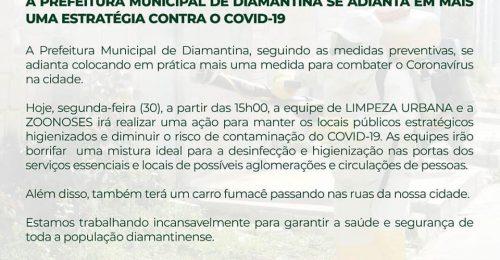 Ilustração da notícia: A PREFEITURA MUNICIPAL DE DIAMANTINA SE ADIANTA EM MAIS UMA ESTRATÉGIA CONTRA O COVID-19