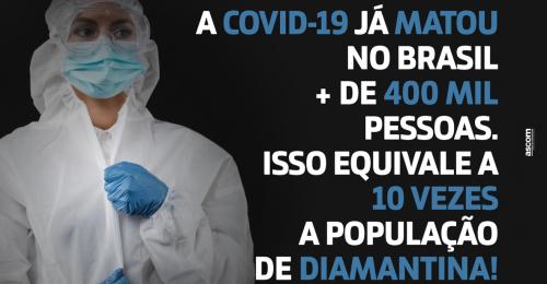 Ilustração da notícia: COVID-19 já MATOU no Brasil + de 400MIL pessoas.