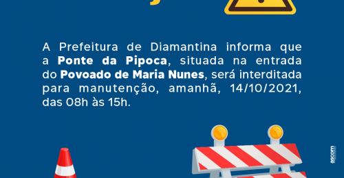 Ilustração da notícia: ATENÇÃO⚠ – MANUTENÇÃO NA PONTE DA PIPOCA